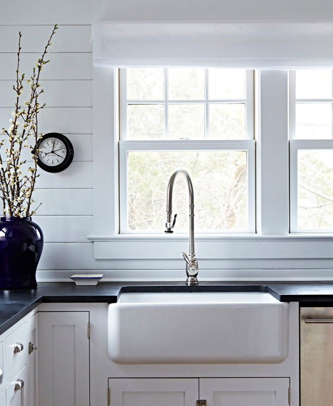 Churchill Soapstone. White kitchen cabinet with black countertop. Black kitchen countertop is Churchill Soapstone. #Blackcountertop #ChurchillSoapstone #Soapstone #SoapstoneCountertop Chango & Co.