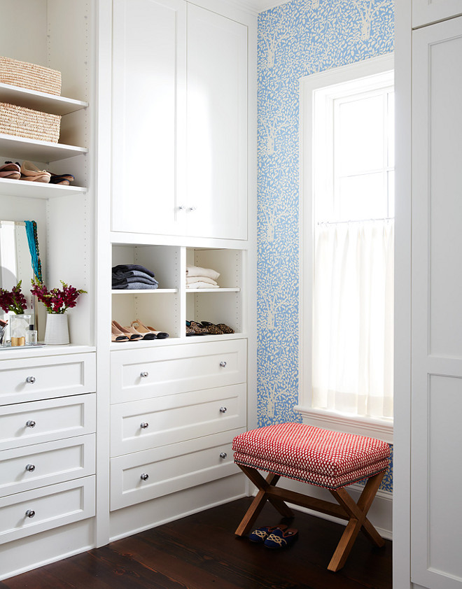"Closet. Walk in closet built ins painted in Benjamin Moore OC-17 White Dove. The closet built-ins are painted in ""Benjamin Moore OC-17 White Dove"". Andrew Howard Interior Design"