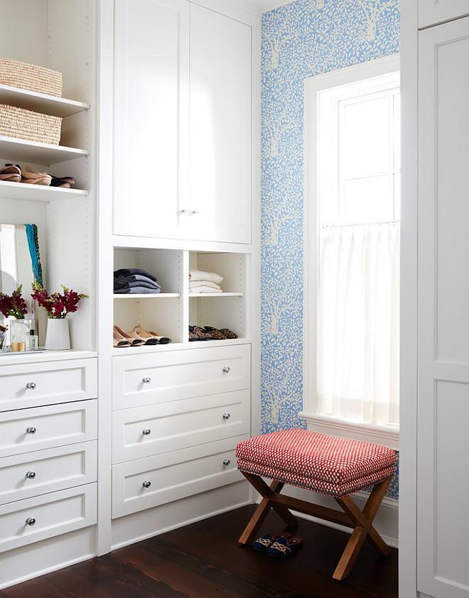 "Closet. Walk in closet built ins painted in Benjamin Moore OC-17 White Dove. The closet built-ins are painted in ""Benjamin Moore OC-17 White Dove"". Andrew Howard Interior Design"