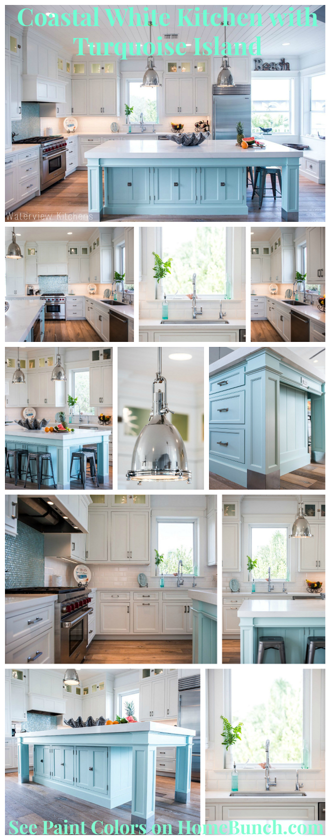 Coastal White Kitchen with Turquoise Island. Beautiful, cheerful and happy Coastal White Kitchen with Turquoise Island #CoastalKitchen #White itchen #TurquoiseIsland Via Home Bunch