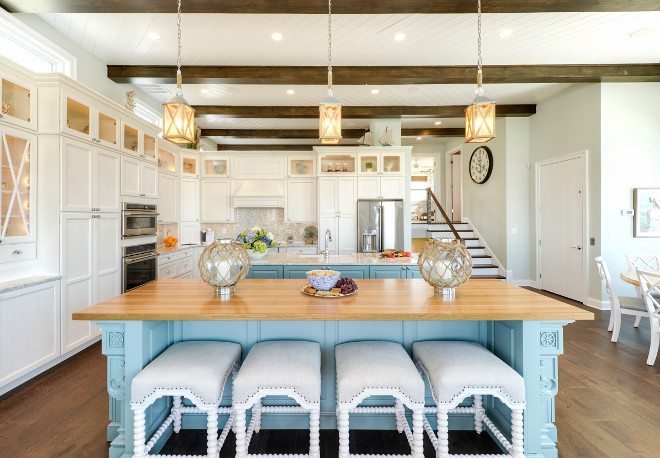Coastal Kitchen. Coastal kitchen with turquoise islands and ceiling with exposed beams and herringbone shiplap. #Coastalkitchen #turquoise #Turquoiseisland #kitchenwithturquoiseisland#ceiling #exposedbeams #herringboneshiplap #herringbone #shiplap Echelon Interiors