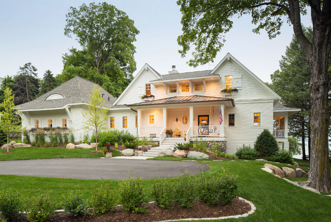 Cream White Home Exterior. The Exterior Of This Home Combines Off White,  Cream White