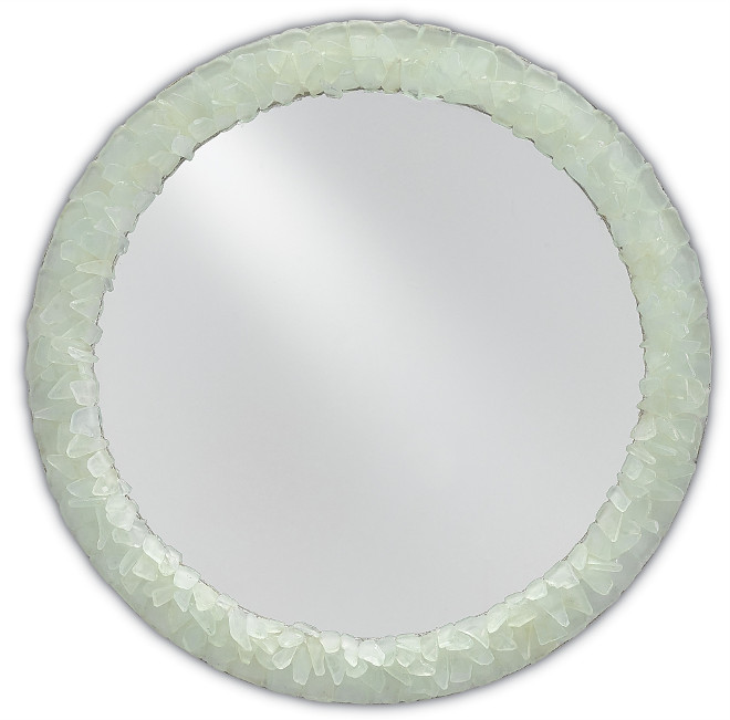 This Currey & Co Arista Mirror features a wood frame hand-covered in beautiful shades of tumbled seaglass.