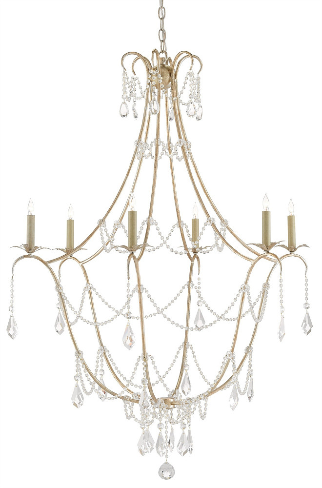 Currey and Co Elizabeth Chandelier. Versatile and classic, Currey and Co's Elizabeth Chandelier is one of my favorite chandeliers. Less is more with the Elizabeth Chandelier. An airy iron framework is delicately draped with tasteful crystal accents. Teardrops and beaded strands adorn the traditional Silver Granello finished design.