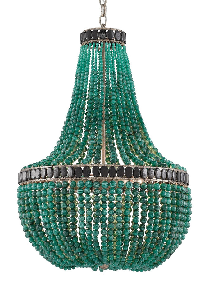 Currey and Co La Malaquita Chandelier. Green is the the color of life, renewal, nature, energy and 2017 is the year of Green! Believe me, you will see so many new green decorative items and fresh ways to bring more green into your home over the new year. This gorgeous beaded chandelier by Currey & Co, the La Malaquita Chandelier, would look amazing in a room that calls for a punch of color. The La Malaquita Chandelier's classic form is adorned by hundreds of rich emerald green and black beads. The piece's empire style is complemented by a Pyrite Bronze finish. The Marjorie Skouras Collection.