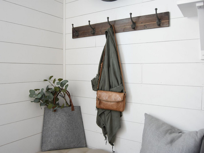 DIY Shiplap. The white diy shiplap walls are painted in Snowbound by Sherwin Williams. DIY Shiplap #DIYShiplap #DIY #Shiplap Pillow Thought Home
