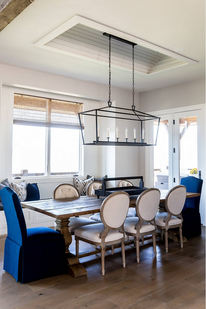 Darlana Linear Chandelier. Darlana Linear Chandelier over dining table. Farmhouse ideas Darlana Linear Chandelier. Coastal Farmhouse Dining room with Darlana Linear Chandelier. #DarlanaLinearChandelier Timberidge Custom Homes