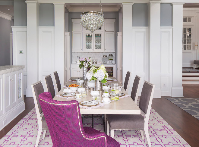 Dining Room Wainscoting. Dining room features wall paneling, custom millwork and csutom wainscoting. A butlers pantry is tucked into a nook. #DiningRoom #Wainscoting #Diningroomwainscoting #wallpaneling #custommillwork #customwainscoting #butlerspantry Martha O'Hara Interiors