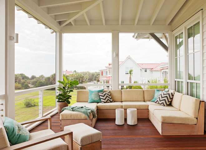 Exposed rafters porch. This porch features exposed rafters and steel cable railing. #Exposedrafters #porch #steelcable #steelcablerailing Beau Clowney Architects. Jenny Keenan Design
