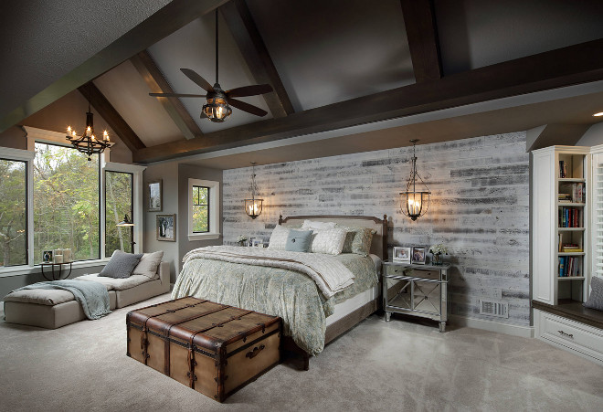 Farmhouse Bedroom With Beamed Vaulted Ceiling Shiplap Accent Wall Dark Grey