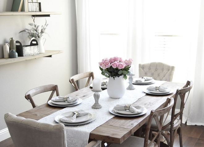 Farmhouse Dining Room Table Setting. Farmhouse Dining Room Table Setting. The decor is from Nebraska Furniture Mart, Michaels, Homegoods and Magnolia Market. #FarmhouseDiningRoomTableSetting #FarmhouseDiningRoom #TableSetting #MagnoliaMarket #Farmhouse #DiningRoom Pillow Thought Blog