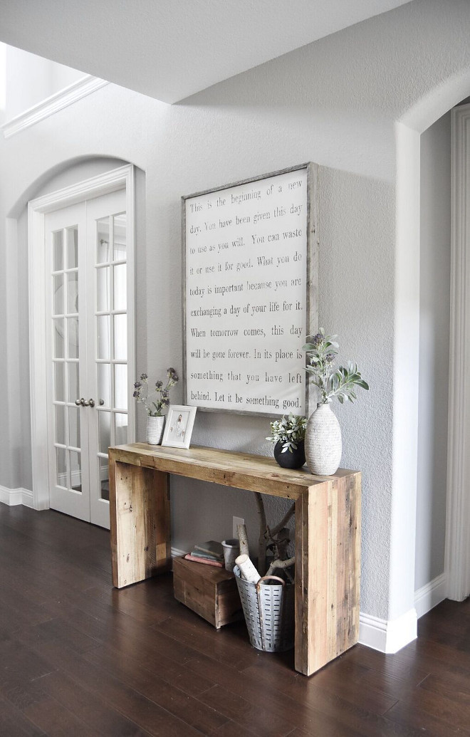 Farmhouse Entry Console Table. I love the simplicity of this entry. Isn't this reclaimed wood console great? Farmhouse Entry Console Table Design. Farmhouse Entry Console Table Decor. Farmhouse Entry Console Table #FarmhouseEntry #ConsoleTable Home Bunch's Beautiful Homes of Instagram Pillow Thought