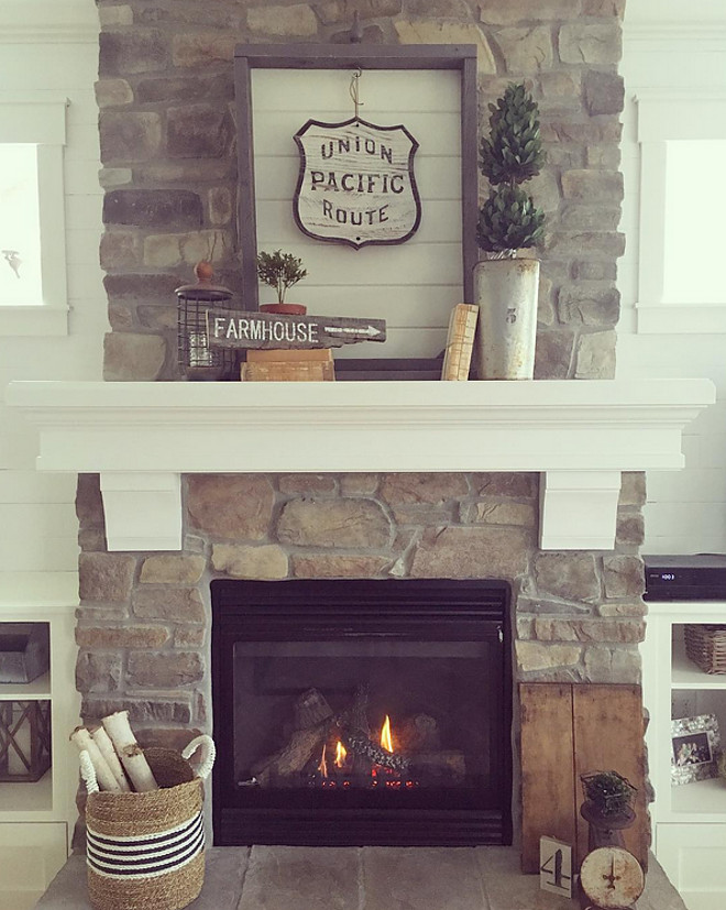 Farmhouse Interiors. The farmhouse-inspired fireplace decor were mostly done from recycled materials. Farmhouse Decor. Farmhouse ideas. Farmhouse Home Decor #FarmhouseInteriors #farmhouseinspired #fireplacedecor#recycledmaterials #FarmhouseDecor #Farmhouseideas #FarmhouseHomeDecor #HomeDecor Janna Allbritton - Instagram @yellowprairieinteriors