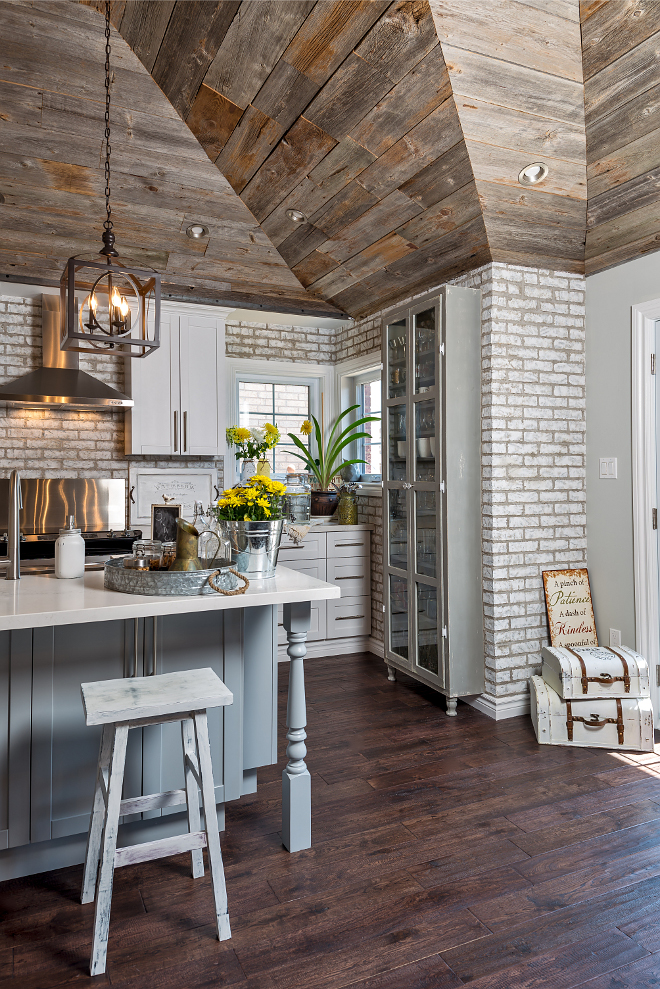 whitewashed brick reclaimed barn wood shiplap interiors home
