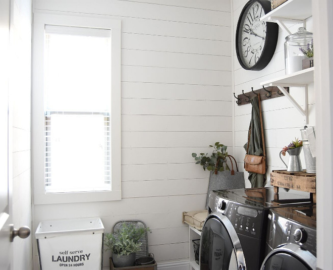 Farmhouse laundry room with DIY shiplap. Farmhouse laundry room with DIY shiplap ideas. Farmhouse laundry room with DIY shiplap #Farmhouselaundryroom #Farmhouse #laundryroom #DIYshiplap #DIY #shiplap Pillow Thought Home
