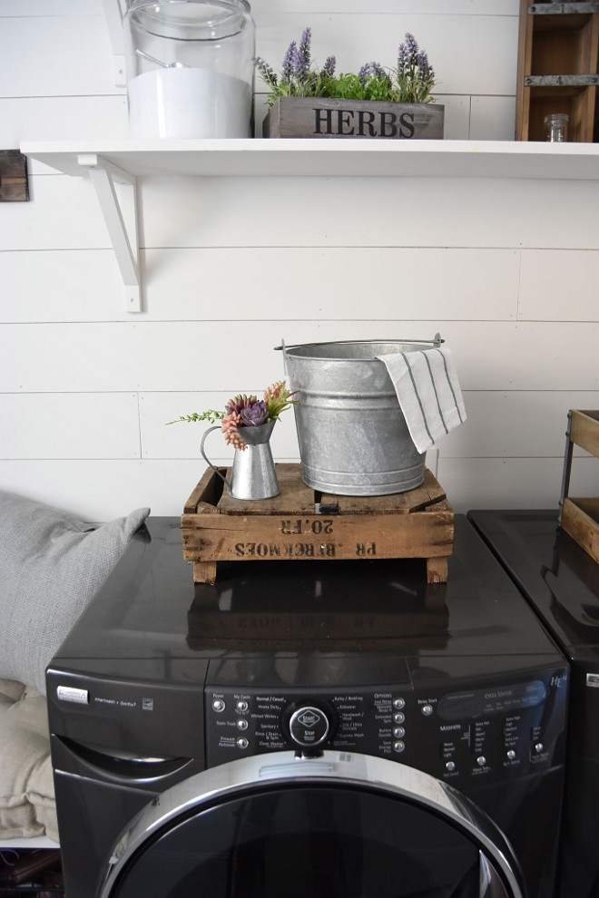 Farmhouse laundry room with shiplap, reclaimed wood storage and open shelves. Farmhouse laundry room with shiplap, reclaimed wood storage and open shelves. #Farmhouselaundryroom #laundryroom #shiplap #shiplaplaundryroom #reclaimedwood #storage #openshelves Pillow Thought Home