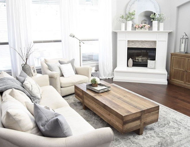 Farmhouse living room. Farmhouse living room. This rustic wood coffee table is from West Elm. #Farmhouselivingroom #livingroom Home Bunch's Beautiful Homes of Instagram Pillow Thought
