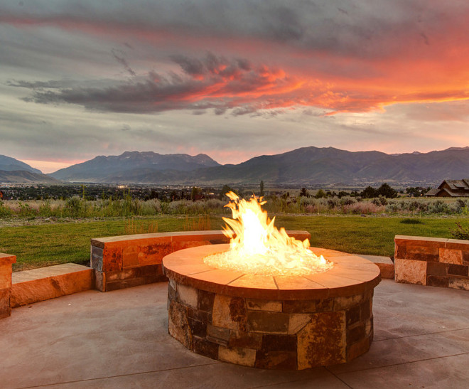 Firepit. Stone firepit area. Firepit #firepit. Timberidge Custom Homes