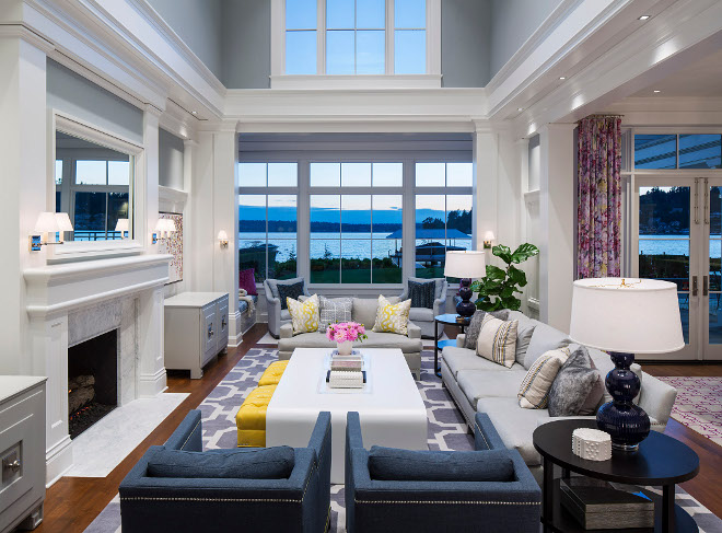 Floor to ceiling living room windows. Living room with floor to ceiling windows. High ceiling living room with floor to ceiling windows. Martha O'Hara Interiors