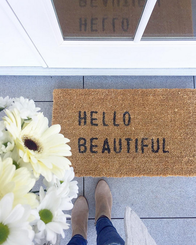 Front Door Mat. Front Door Mat Door Mat Hello Beautiful. The Hello Beautiful Door Mat is from Sugarboo & Co. #FrontDoorMat #DoorMat #HelloBeautiful Sonja - Instagram @jshomedesign