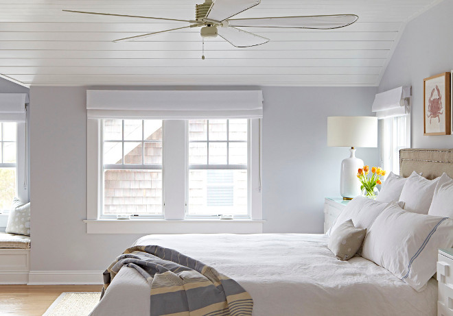 Grey Bedroom. Grey Bedroom color scheme. Shiplap ceiling brings a classic coastal feel to the master bedroom. Grey Bedroom color scheme ideas. Grey Bedroom color scheme. #GreyBedroom #colorscheme #GreyBedroomcolorscheme #Bedroomcolorscheme Chango & Co.
