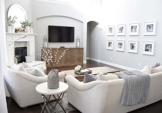 Grey Paint Color. Family room paint color. Grey family room paint color. #Greyfamilyroom #familyroom #paintcolor Home Bunch's Beautiful Homes of Instagram Pillow Thought