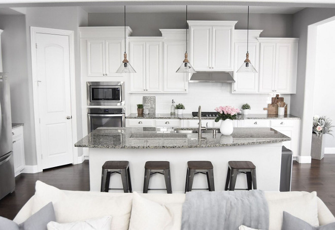 Grey and White Kitchen. Grey and White Kitchen. Grey and White Kitchen Paint Colo. Grey and White Kitchen Ideas #GreyandWhiteKitchen Pillow Thought
