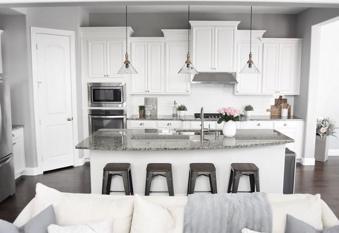 Grey and White Kitchen. Grey and White Kitchen. Grey and White Kitchen Paint Colo. Grey and White Kitchen Ideas #GreyandWhiteKitchen Pillow Thought