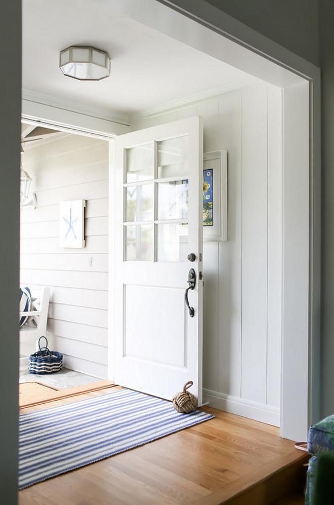 Half glass door. Half glass door Foyer ideas. Small Foyer with lite half glass door and vertical shiplap paneling. Half glass door #Halfglassdoor
