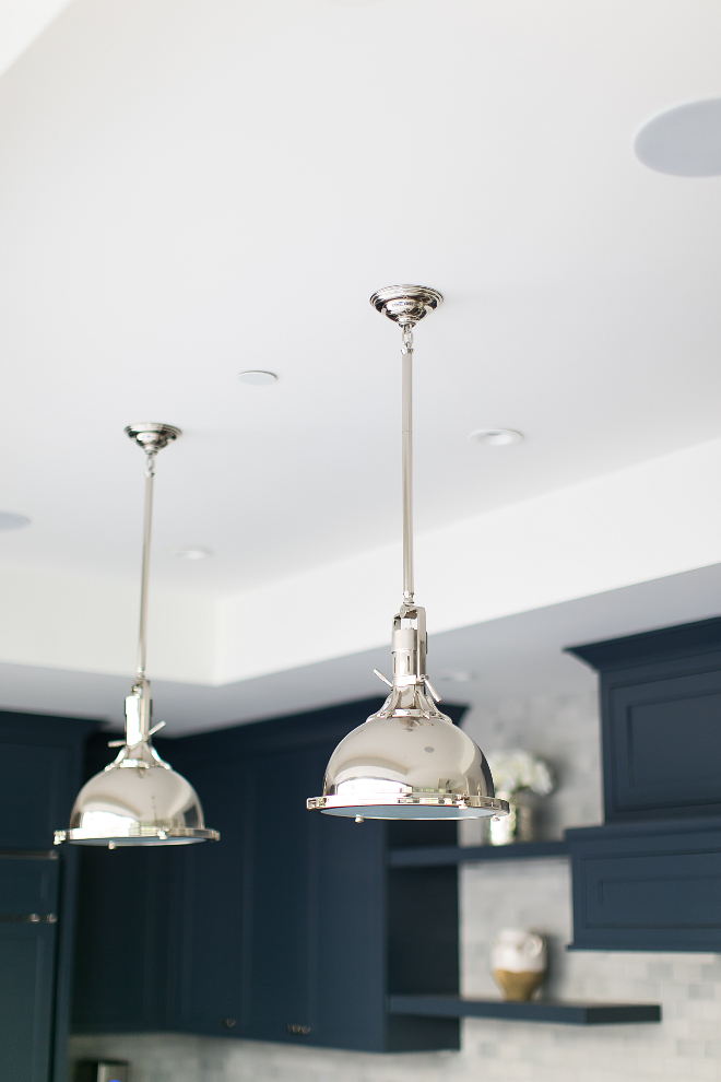 "Harmon Pendants by Restoration Hardware. Kitchen island is Harmon Pendants by Restoration Hardware. 15""Harmon Pendants by Restoration Hardware in Polished Nickel. #HarmonPendantsbyRestorationHardware Patterson Custom Homes"