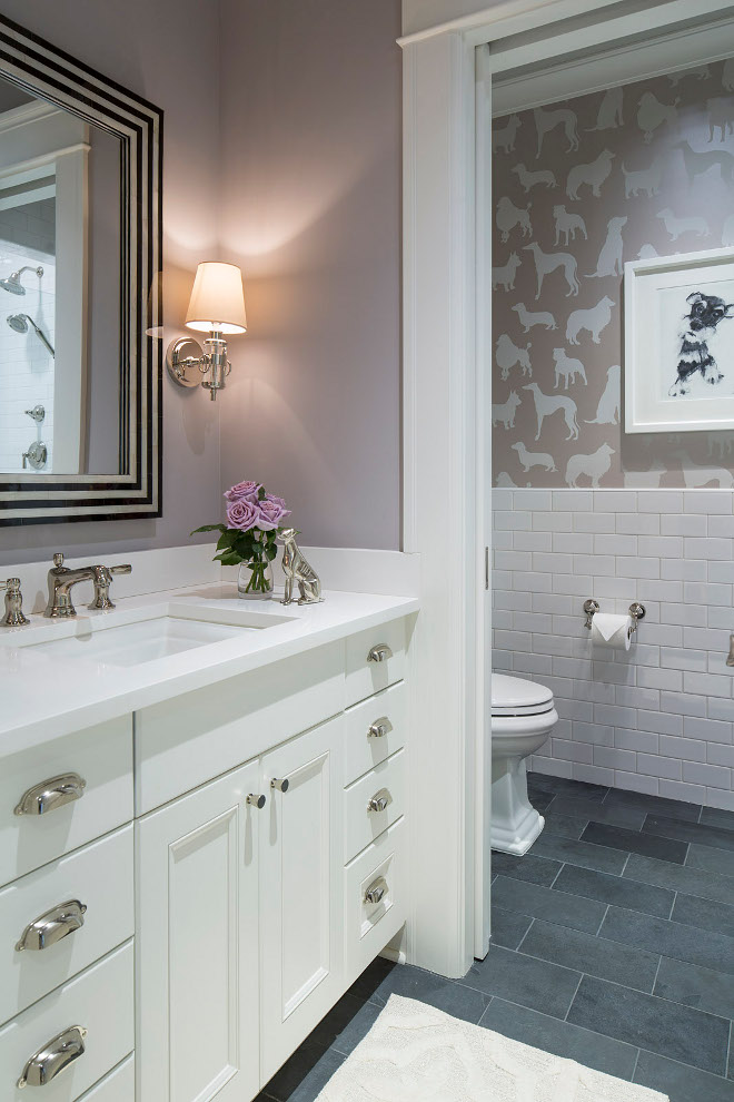 Jack and Jill Bathroom Floor Plans. This Jack & Jill style bathroom features a great layout and an adorable wallpaper; Osborne & Little Best in Show. Vanity paint color is BM White Heron OC-57. Options for Jack-and-Jill bathroom layouts and provides inspiring pictures of beautiful bathroom design ideas. #JackandJillBathroom #JackandJillBathroomPlans #FloorPlans Martha O'Hara Interiors
