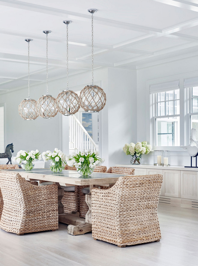 This dining room feature braided woven abaca dining chairs. The woven ding chairs are the St. Martin Armchairs from Restoration Hardware #Jute #Rope #Nautical #diningroom #braidedwoven #woven #abaca #diningchairs # StMartinArmchairs #RestorationHardware Chango & Co.