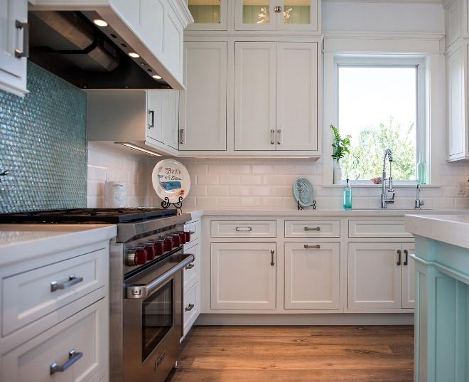 Coastal White Kitchen With Turquoise Island Home Bunch Interior Design Ideas