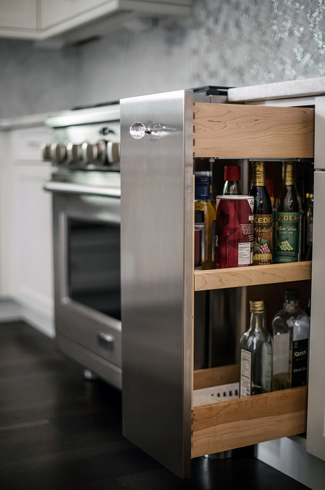 Kitchen Pull Out Spice. Kitchen Pull Out Spice with stainless steel paneling and glass knob. Kitchen Pull Out Spice. Kitchen Pull Out Spice Cabinet #KitchenPulloutSpice #PulloutSpice #PulloutSpiceCabinet Signature Interior Designs