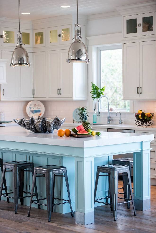 Coastal white kitchen with turquoise island home bunch - Kitchen island with stools ...