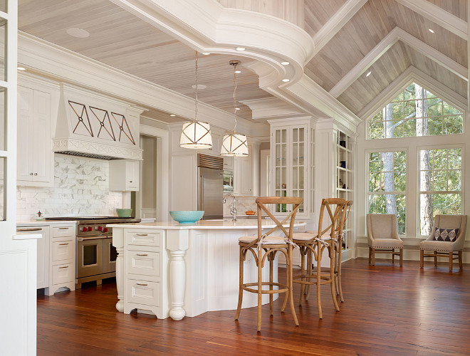 Kitchen Whitewashed Wood Ceiling. Kitchen features vaulted whitewashed shiplap ceiling and tongue and groove paneling. #KitchenWhitewashedWoodCeiling #Kitchen #WhitewashedWoodCeiling #Whitewashed #WoodCeiling #WhitewashedCeiling #Kitchenvaultedceiling #vaultedceiling #whitewashedshiplap #shiplapceiling #tongueandgroove #paneling R.M. Buck Builders