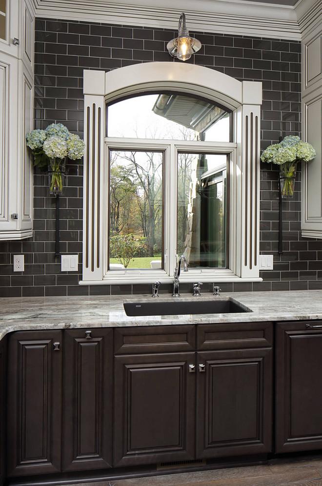 Kitchen Window Farmhouse With Charcoal Subway Tile