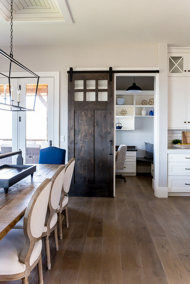 Kitchen barn door opens to small office. Farmhouse Kitchen barn door opens to small office. Kitchen barn door opens to small office #Kitchen #barndoor #farmhouse #farmhousekitchen Timberidge Custom Homes