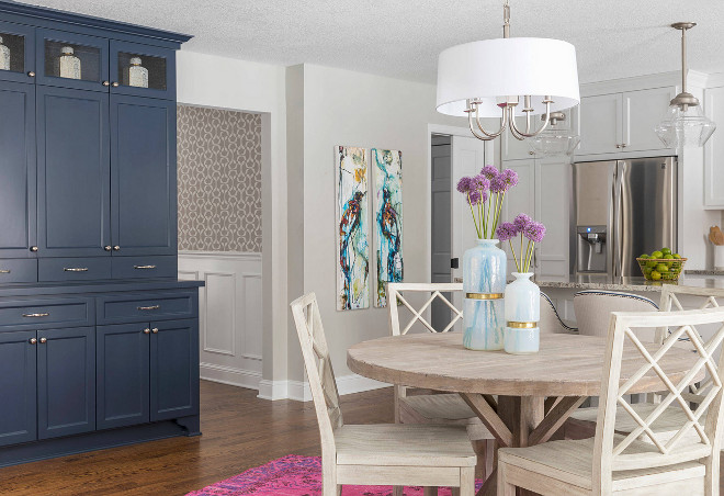 Kitchen table. Kitchen table and navy hutch. Kitchen with trestle table and navy hutch. #Kitchen #trestletable #navyhutch Martha O'Hara Interiors. Troy Thies Photography.