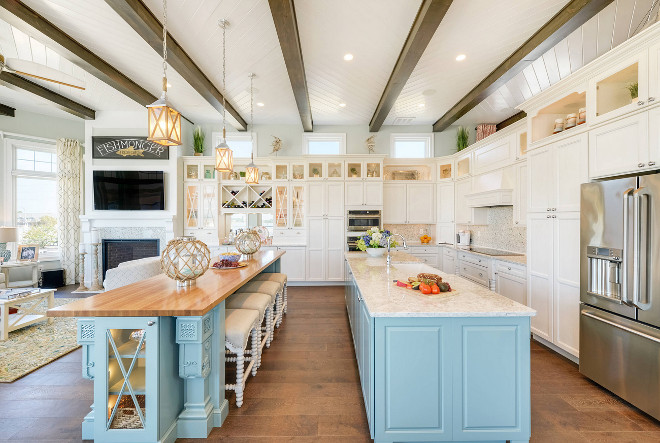 Kitchen with two island. Open coastal kitchen features two islands and herringbone shiplap ceiling. #Kitchen #Twoislands #twoislandskitchen Echelon Interiors
