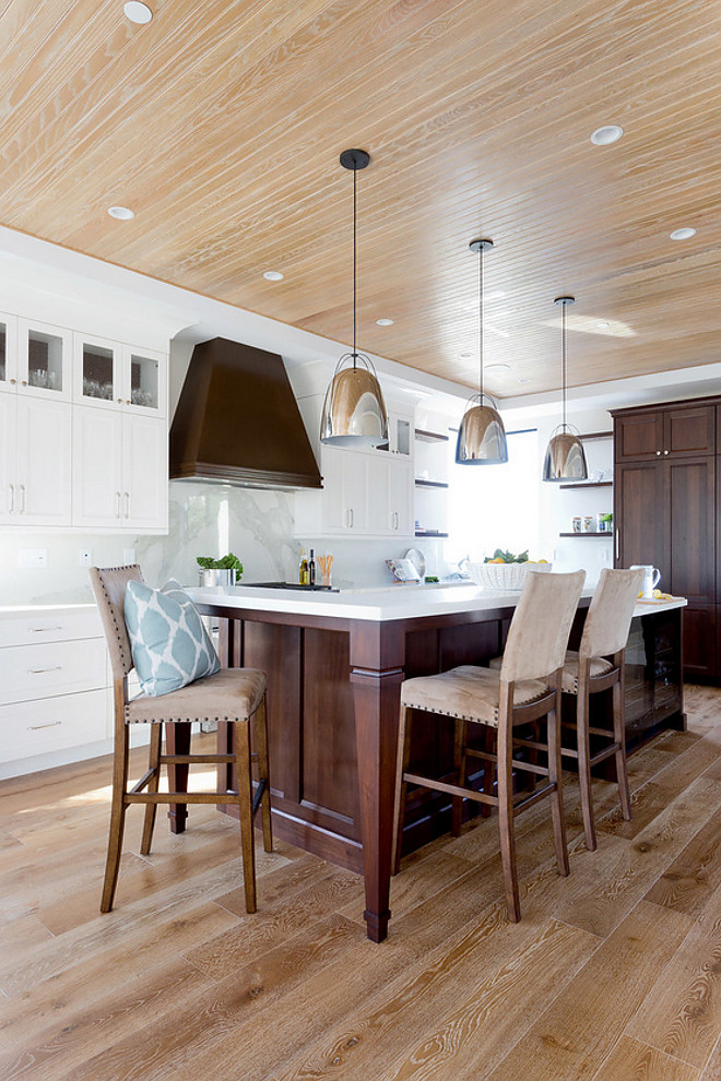 Kitchen with white oak plank floors and white oak beadboard ceiling. Flooring is European White Oak. #Kitchen #whiteoakplankfloors #whiteoakbeadboardceiling #whiteoak #beadboardceiling Denton Developments