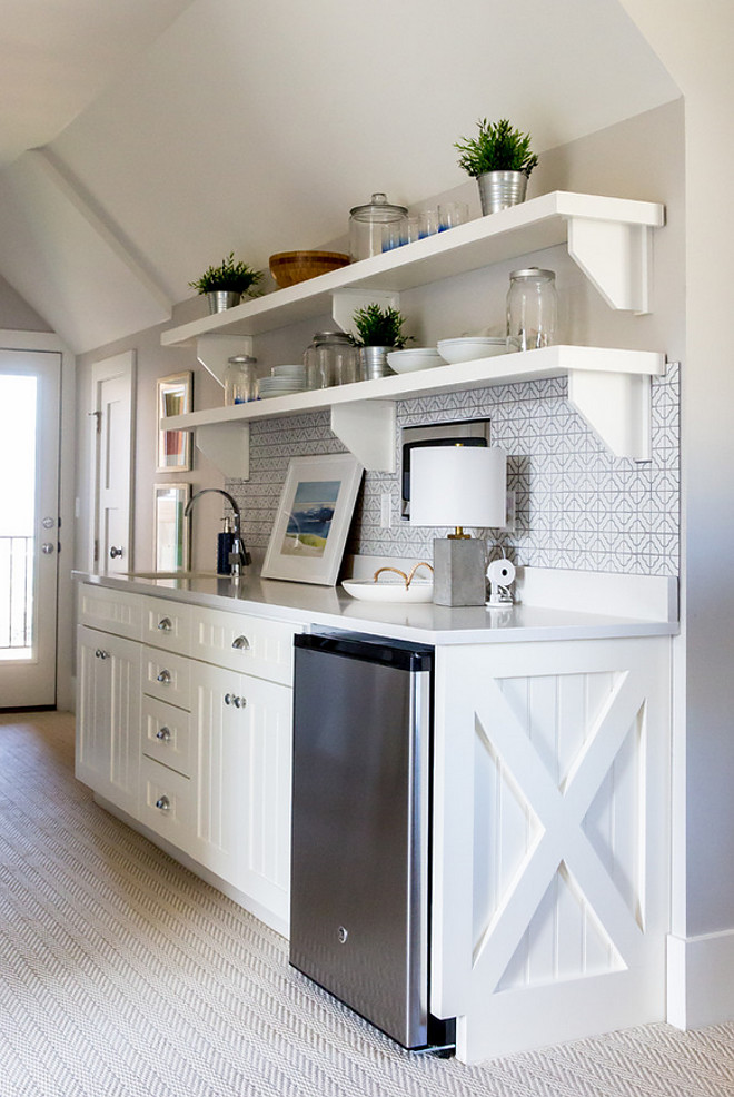 Kitchenette with backsplash and open shelves. Kitchenette with backsplash and open shelf ideas. Kitchenette with backsplash and open shelves #Kitchenette #backsplash #openshelves Timberidge Custom Homes