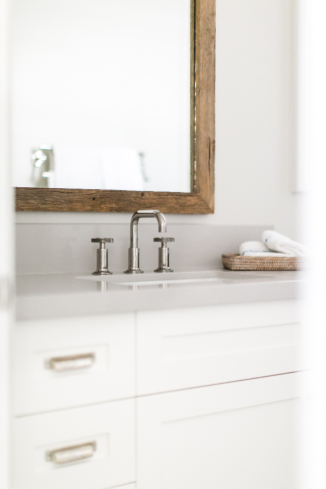 Kohler Purist Faucet. Bathroom features Kohler Purist Faucet and rustic reclaimed wood bathroom mirror. #KohlerPuristFaucet #Bathroom #Faucet #KohlerFaucet Patterson Custom Homes