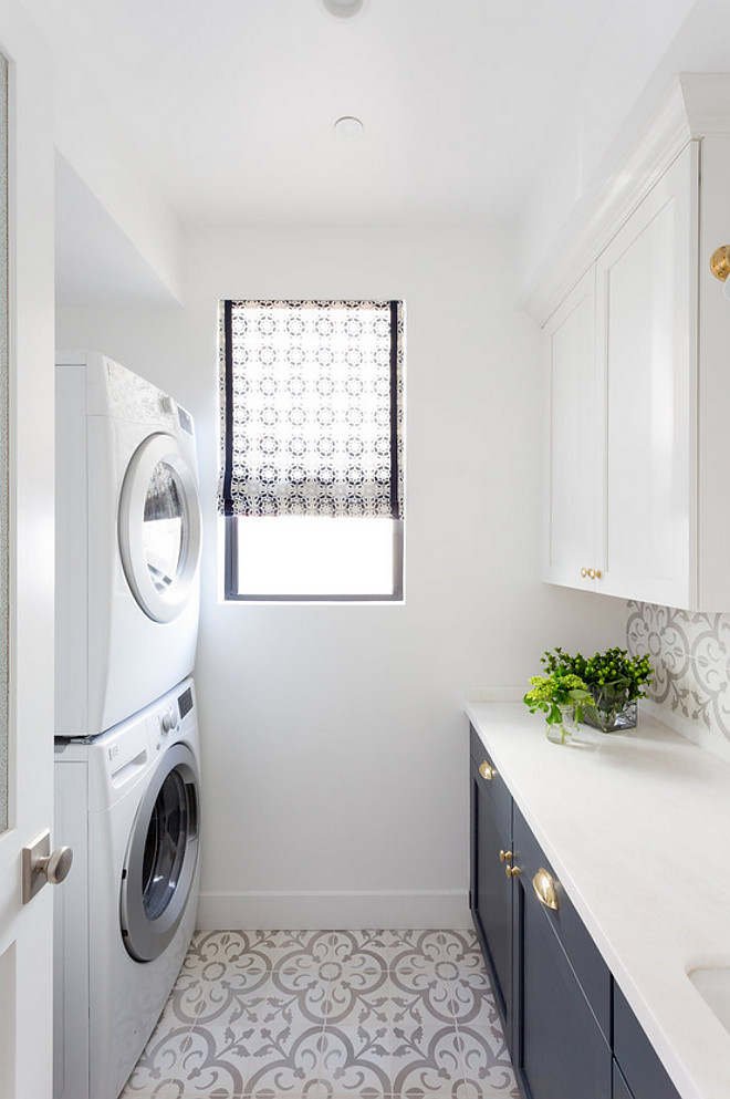 Laundry room with grey cement tile. Laundry room with grey cement tile and dark navy lower cabinets. Laundry room with grey cement tile and two toned cabinets. #Laundryroom #greycementtile #cementtile Denton Developments