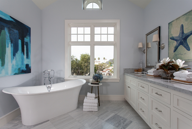 "Light blue bathroom. Light blue bathroom. Light Blue Bathroom Paint Color: ""Restoration Hardware Atmosphere"". Cabinet: Shaker cabinets painted in ""RH Right White"". Light blue bathroom. Light blue bathroom. Light blue bathroom #Lightbluebathroom Brandon Architects, Inc."