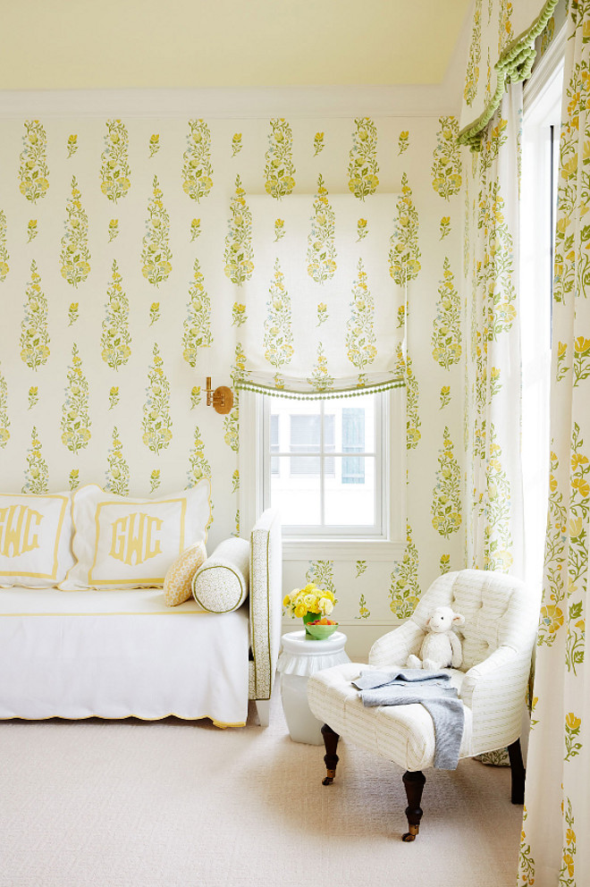 Little Girls Bedroom Design. Little Girls Bedroom Design Ideas. Fabric and wallpaper is by Galbraith & Paul. Little Girls Bedroom Design #LittleGirlsBedroomDesign #GirlsBedroomDesign Andrew Howard Interior Design