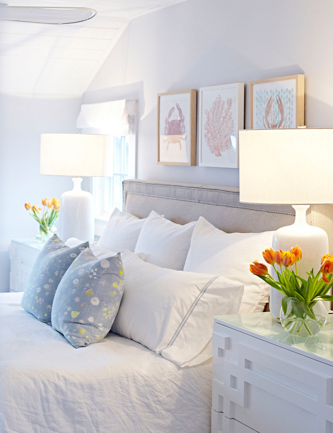 Master Bedroom. Soft colors Master Bedroom Ideas. Perfectly designed! I simply love every detail here. Paint color is Benjamin Moore Mountainscape 870. Master Bedroom #MasterBedroom #softcolors #Bedroom Chango & Co.
