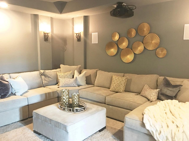 Media Room. Painted in Flagstone from PPG Paints, this media room is the perfect place to unwind and watch a good movie! Media Room Paint Color. Media Room Wall Decor Media Room #MediaRoom #MediaRoomPaintColor #WallDecor #MediaRoomWallDecor Beautiful Homes of Instagram: classicstylehome