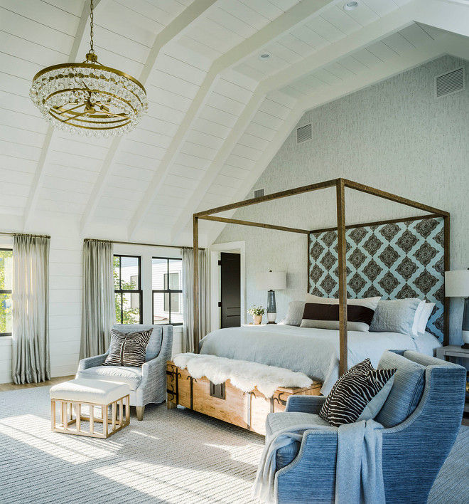 Modern farmhouse bedroom. Farmhouse master bedroom with brass Bling Chandelier by Circa Lighting, vaulted ceiling with tongue and groove paneling #Modern farmhouse bedroom. Farmhouse master bedroom with brass Bling Chandelier by Circa Lighting, vaulted ceiling with tongue and groove paneling #Modernfarmhouse #bedroom #Farmhouse #masterbedroom #farmhousebedroom #brasschandelier #BlingChandelier #CircaLighting #vaultedceiling #tongueandgroove #paneling #tongueandgroovepaneling Roundtree Construction. TruexCullins Architecture + Interior Design
