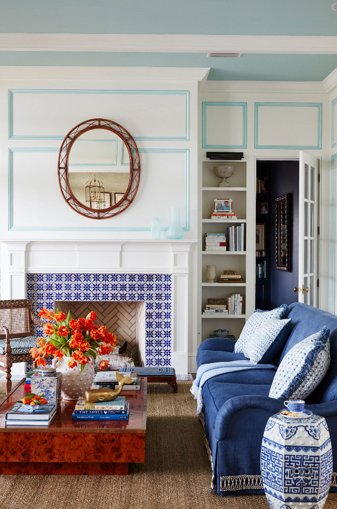 Moroccan Tile. Blue and White Moroccan Tile framing fireplace. Blue and white Moroccan tile is from Mosaic House. #MoroccanTile #BlueandWhiteTile #BlueandWhiteMoroccanTile #MoroccanTile Andrew Howard Interior Design